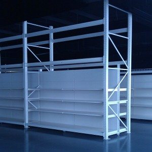 Hypermarket shelving with shop shelving